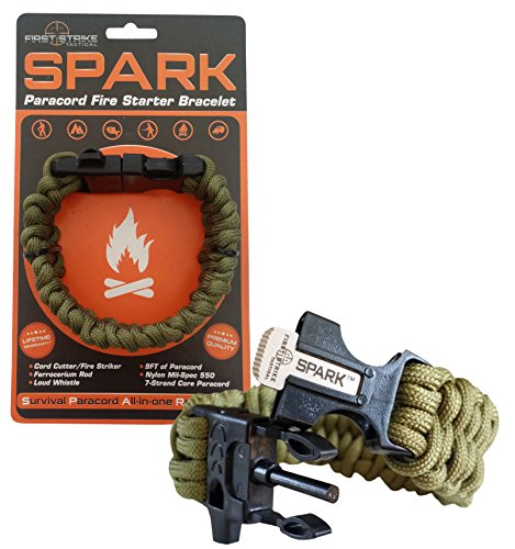 Spark Tm Fire Starter Outdoor Survival Paracord Bracelet Army Olive Green With Black Whistle Side Release Buckle Kit Ser Magnesium Steel